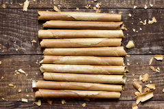 Neulas, typical thin biscuit rolls eaten in Christmas in Catalon Stock Photos