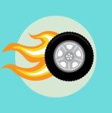 Neumático de coche con diseño plano de la llama stock de ilustración