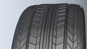 Neumático de coche con el protector almacen de metraje de vídeo