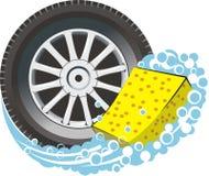 Neumático de coche con la esponja Imagen de archivo