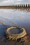 Neumático desechado en la playa imágenes de archivo libres de regalías