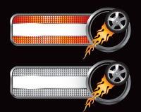 Neumático llameante en naranja y las tabulaciones checkered de plata Fotos de archivo