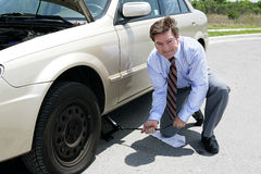 Neumático plano - Gato Fotos de archivo libres de regalías