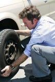 Neumático plano - trabajo sucio Foto de archivo