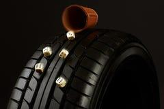 Neumático y cubo Imagen de archivo libre de regalías