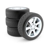 Neumáticos con los discos de aluminio Fotografía de archivo