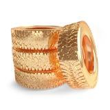 Neumáticos de coche del oro en un fondo blanco representación 3d Foto de archivo libre de regalías
