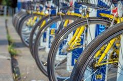 Neumáticos de la bicicleta, ciudad parqueada que comparte las bicicletas Fotografía de archivo