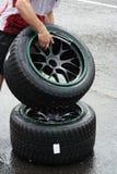 Neumáticos de la lluvia Fotografía de archivo