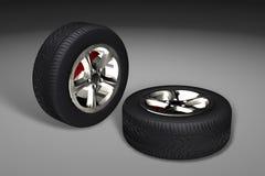 Neumáticos del coche (ruedas) Fotos de archivo libres de regalías