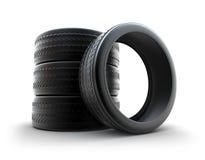 Neumáticos del invierno sobre blanco ilustración del vector