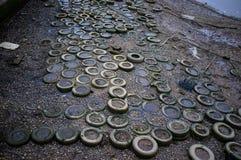 Neumáticos en el Támesis Fotografía de archivo