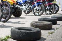 Neumáticos y motocicletas Imágenes de archivo libres de regalías