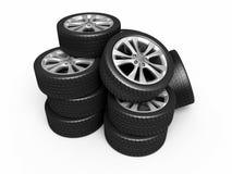 Neumáticos y ruedas de automóvil Imagenes de archivo