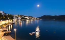 Neum city in the moonlight, Bosnia and Hercegovina popular resort. At night Stock Photos