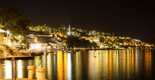 Neum resort, beautiful night landscape, Bosnia and Herzegovina Stock Photo