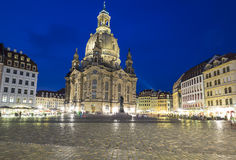 Neumarkt and Frauenkirche at night in Dresden Stock Image