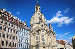 Neumarkt Square at Frauenkirche Our Lady church in the center Stock Photo