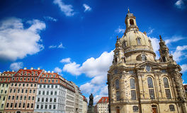 Neumarkt Square at Frauenkirche Our Lady church in the center Stock Photography