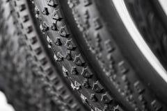 Neumáticos de la bicicleta de diversos protectores Fotos de archivo libres de regalías