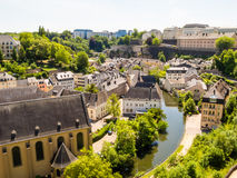 Neumuenster Abbey and Alzette river, Luxembourg City, Luxembourg Stock Images