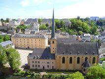 Neumunster Abbey, with stunning landscape of the Grund Lower City of Luxembourg City Stock Images