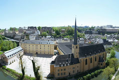 Neumunster Abbey. View from the Corniche. View of old monastery in city Luxembourg. The best balcony in Europe, the Corniche Stock Photography