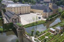 Neumunsterabdij in de stad van Luxemburg Stock Fotografie