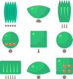 Neun Baumlogos Flaches Design stock abbildung