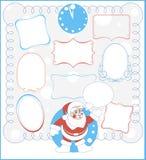 Neun einfache Rahmen und Santa Claus Lizenzfreie Stockbilder