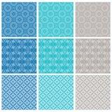 Neun elegantes Textil- oder Tapetenmuster Stockbilder