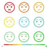 Neun Farbgesichts-Feedback/Stimmung Gesichtsskala des Satzes neun - trauriges neutrales Lächeln - lokalisierte Vektorillustration lizenzfreie abbildung
