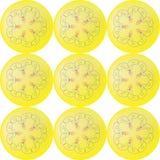 Neun gelbe Bälle mit Blumenmuster im nahtlosen Muster der Mitte vektor abbildung