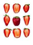 Neun geschnittene Erdbeeren Stockbild
