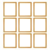 neun Holzrahmen lokalisiert auf Weiß Stockfotografie
