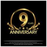 Neun Jahre Jahrestag golden Jahrestagsschablonenentwurf für Netz, Spiel, kreatives Plakat, Broschüre, Broschüre, Flieger, Zeitsch lizenzfreie abbildung