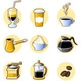 Neun Kaffeeikonen Lizenzfreies Stockfoto