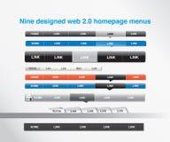 Neun konzipierten Web 2.0 homepage-Menüs Lizenzfreie Stockbilder