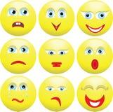Neun mannigfaltige Ausdrücke der Personen. Smilies. Stockfoto