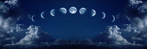 Neun Phasen der vollen Wachstumschleife des Mondes stockfotos