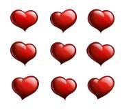 Neun rote Herzen lizenzfreie abbildung