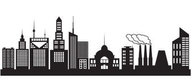 Neun Schattenbilder von Stadtgebäuden Stockbild