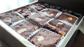 Neun Schokoladenschokoladenkuchen im Kasten Lizenzfreies Stockbild