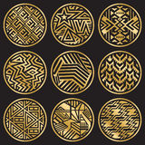 Neun Vektor-goldene Medaillons auf Schwarzem Lizenzfreies Stockbild
