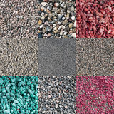 Neun verschiedene farbige und natürliche zerquetschte Steine Stockbilder