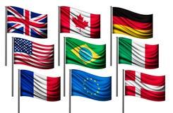 Neun verschiedene Flaggen von bedeutenden Ländern Lizenzfreie Stockfotos