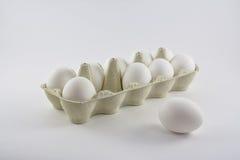 Neun weiße Eier in einem Kasten und in einer Außenseite Lizenzfreie Stockbilder