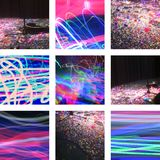 Nine pictures with confetti, light and music stock photo