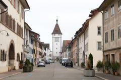 Neunkirch, SH-/die Schweiz - 10. November 2018: historisches Dorf von Neunkirch fast vollständig leer auf einem frühen Wochenende lizenzfreie stockbilder