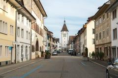 Neunkirch, SH-/die Schweiz - 10. November 2018: historisches Dorf von Neunkirch fast vollständig leer auf einem frühen Wochenende stockfoto